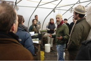 Providence farmer discusses land use and agriculture at a FarmHack design charrette