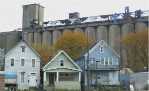 The grain elevators dominate the identity of Buffalo Communities