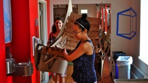 Students at the Boston Architectural College summer education program complete a design challenge