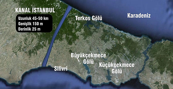 Location of Canal Istanbul
