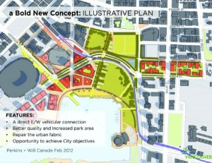 The Illustrative Plan designed by Vancouver's structural engineers and city planners depicts what the area would look like if the viaducts were removed.