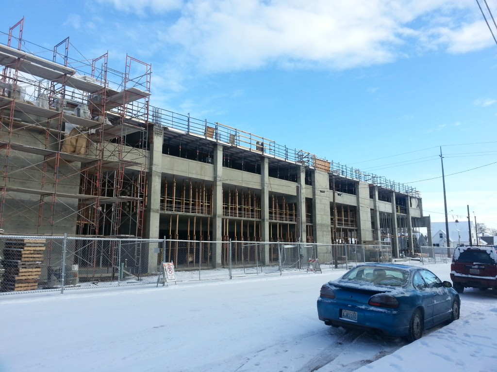 The progress made on the GU mixed use parking garage as of January, 2013.