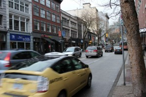 A typical mid-day view of Vancouver's Hastings Street