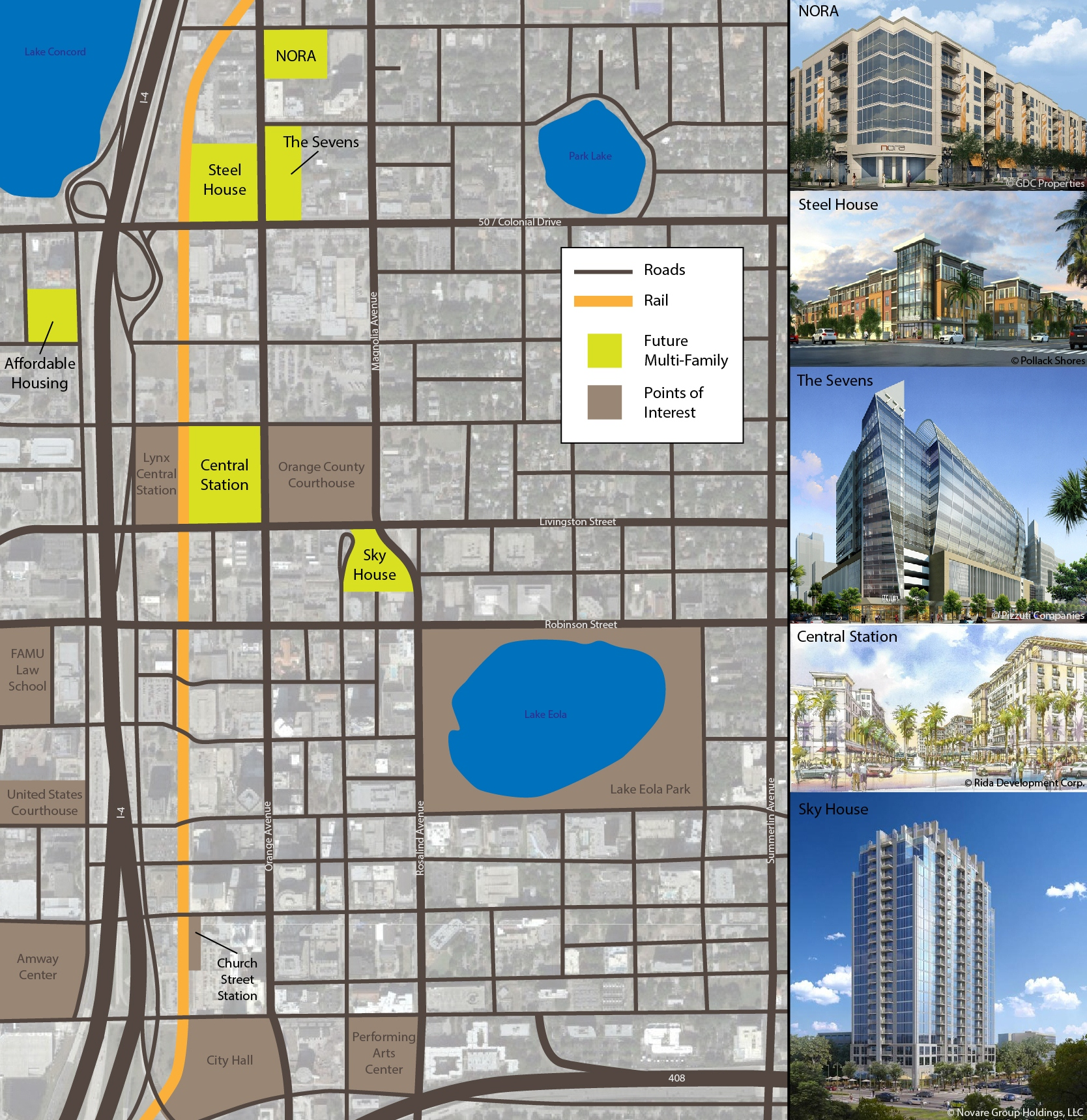 Downtown Orlando apartments and points of interest, map by Alex Lenhoff