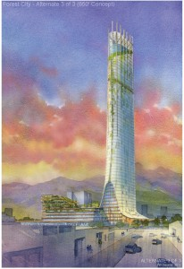 One of three designs proposed by Forest City