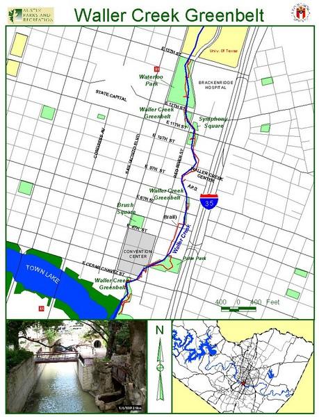 Map of Waller Creek Austin, TX