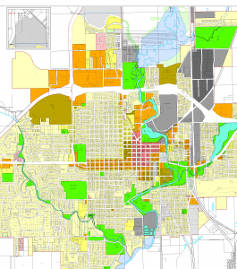 Zoning Map of Central Austin: Single-use zones become dominant the further they are from the city center