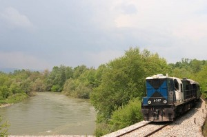Theme train near Nestos river