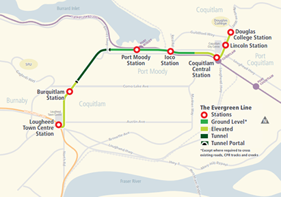 Map of Evergreen Line