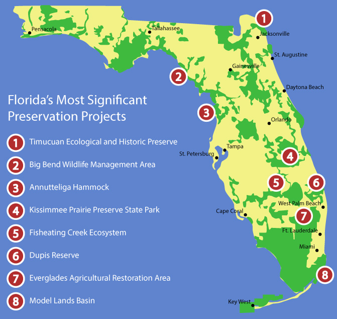 Map of Florida land acquisition for environmental protection.
