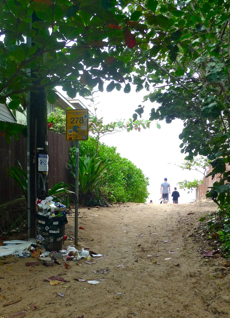 An Overflowing Garbage Can along a Right-of-way to Ehukai Beach Park on the North Shore