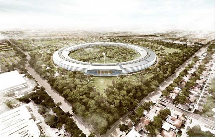 Bird's Eye View of Apple's New Campus in Cupertino, CA
