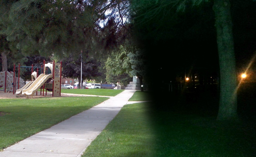 Cheney, WA, USA's Veteran Memorial Park from day to night