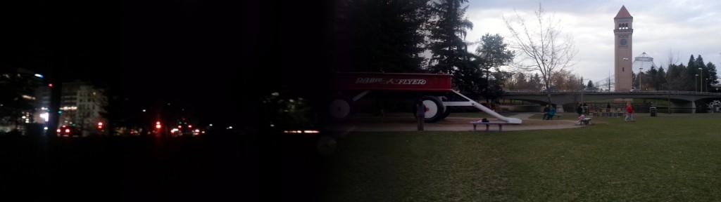 Spokane, WA, USA's Riverfront Park from day to night