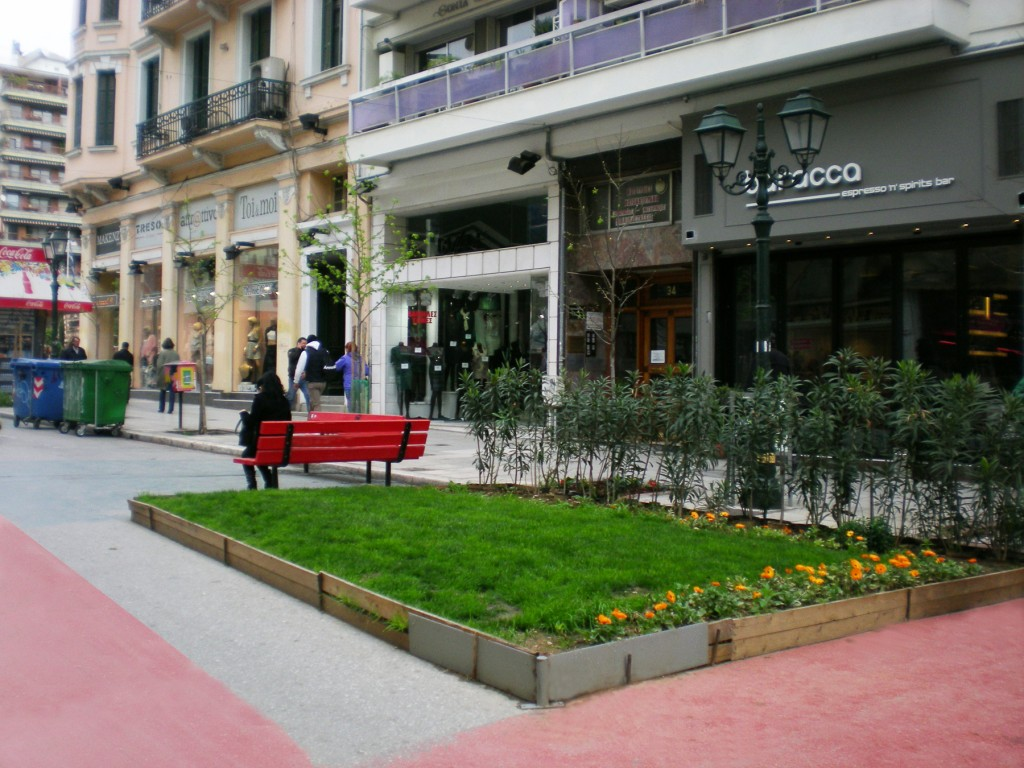 Benches and flower beds of St. Sophia's Street, Thessaloniki, Greece
