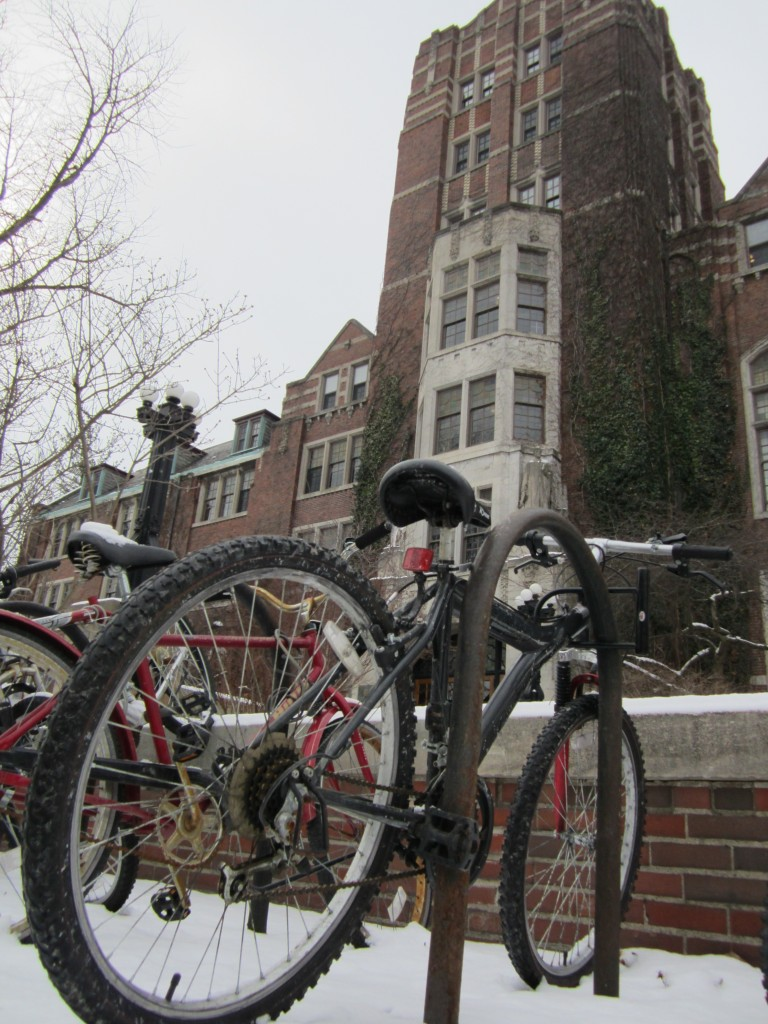 Bikes in front of the Michigan Union