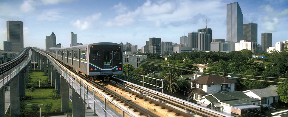 Miami downtown MetroRail train new line to Miami International Airport.