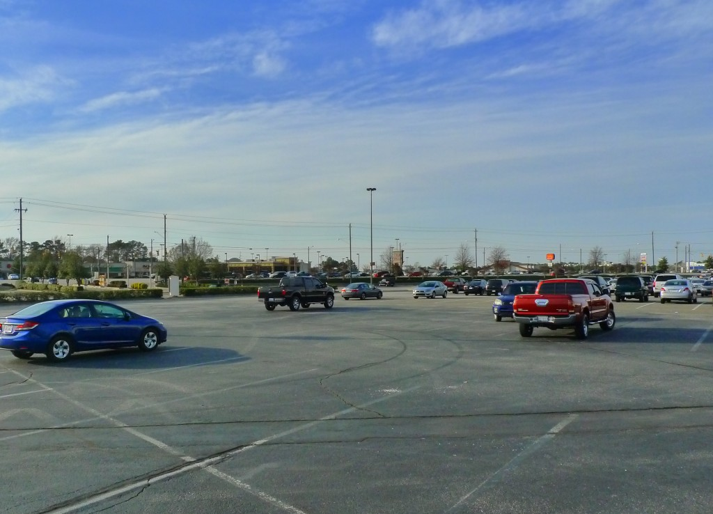An Expansive Parking Lot Along Skibo Rd.