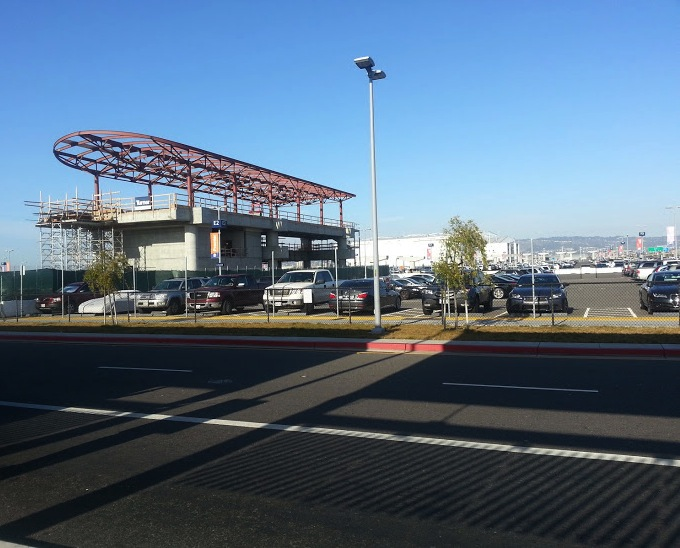 Oakland Airport BART Connector Station in Progress