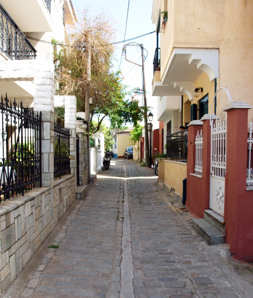 The primal narrow paved roads in Ano Poli, Thessaloniki, Greece