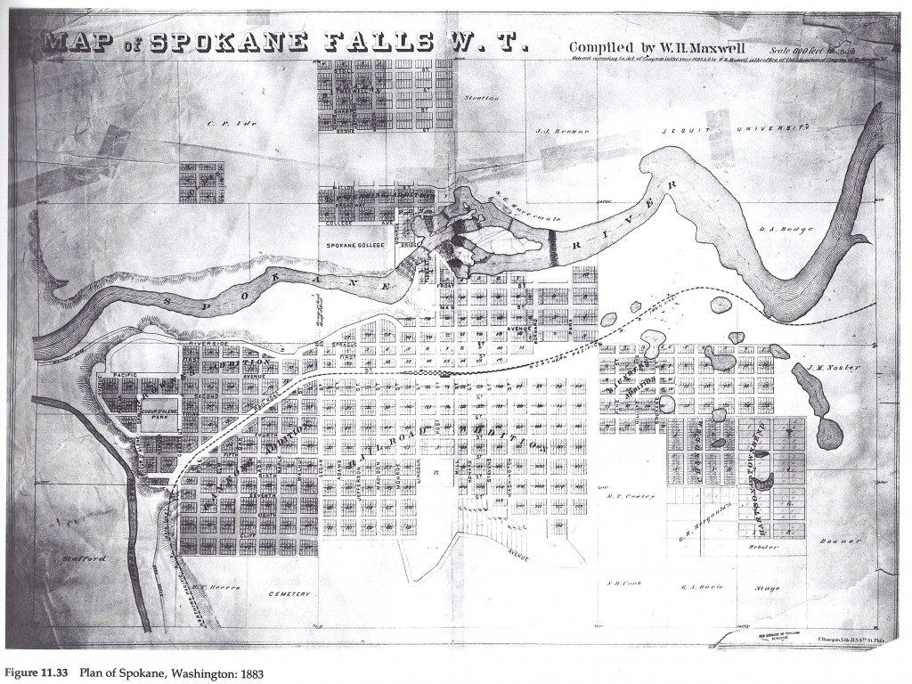 Plan for Spokane, WA in 1886