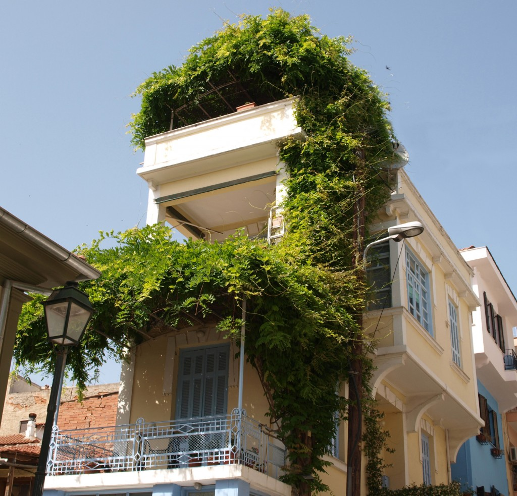 "Building with typical ""hagiati"" in Ano Poli, Thessaloniki, Greece"