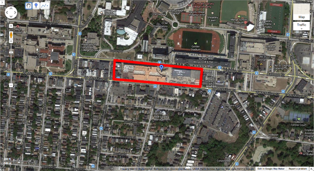 Google Map Image of U Square, South side of UC West Campus