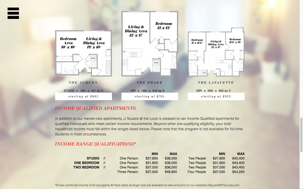 "U Square Floor Plans, ""Live for Less,"" U Square Website"