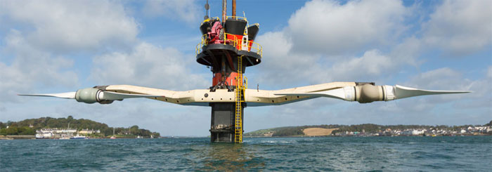 This is an image of the Carlingford Lough tidal wave scheme in County Down, Northern Ireland. As you can see the span of the turbines is vast.
