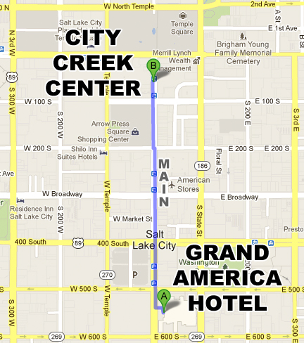 How to get to City Creek Center from the Grand America Hotel