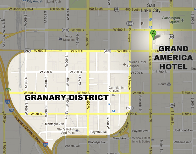 Map of Granary District in relation to the Grand America Hotel