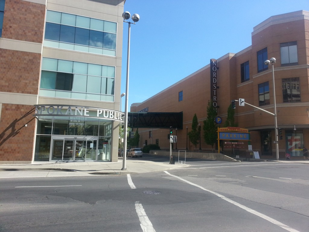 Spokane's downtown library is connected via skywalk to the neighboring Nordstrom, an anchor of the downtown mall