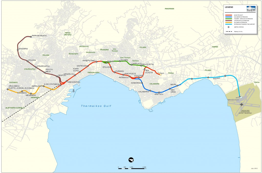 Map showing the base project and the future extensions pf Thessaloniki's Metro