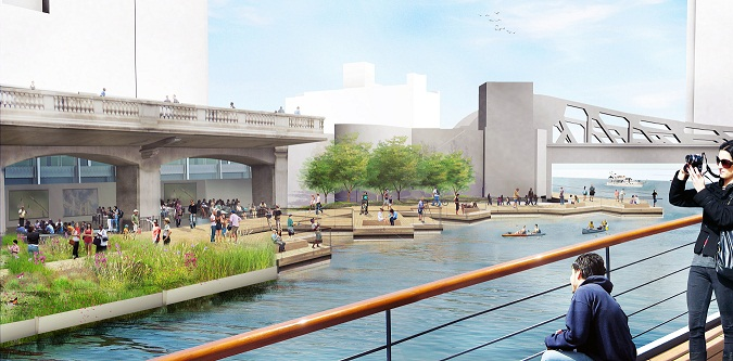 A rendering of the proposed Riverwalk project