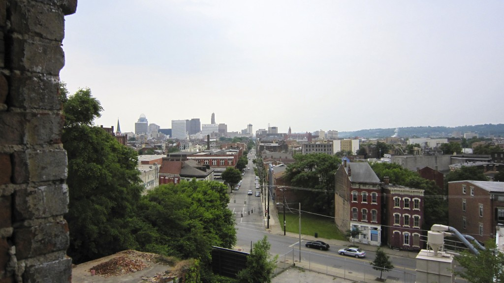 Looking towards downtown Cincinnati out window at Grayscale