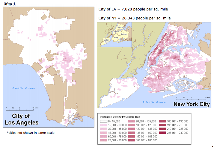 New York City is 4x denser than Los Angeles. Sprawl: A Compact History