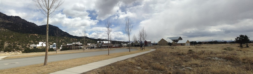 With Buena Vistas South Main on the left, preserved open space surrounds the planned unit development (PUD.) This development follows the idea of the urban transect.