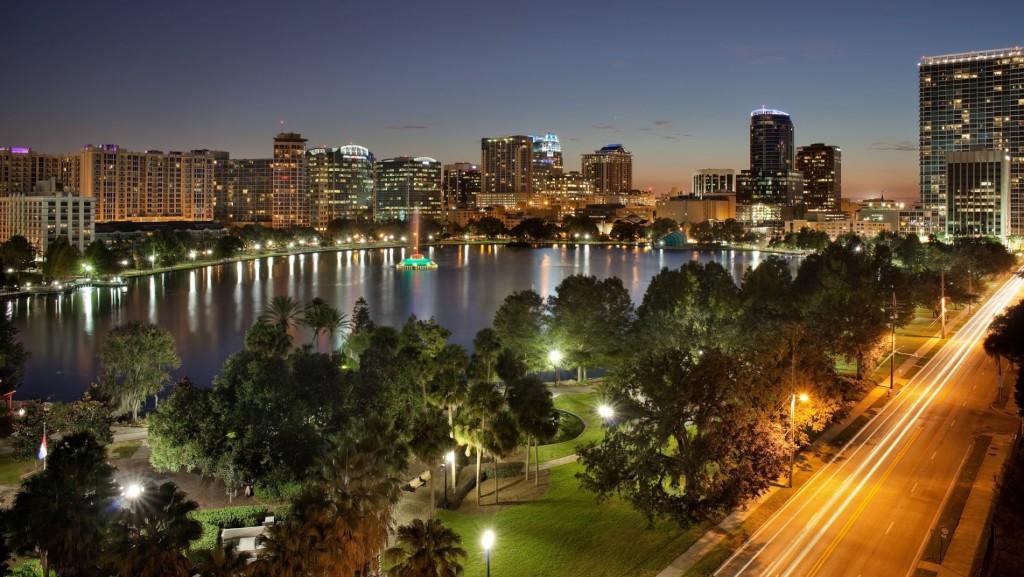 City of Orlando Skyline Florida Night
