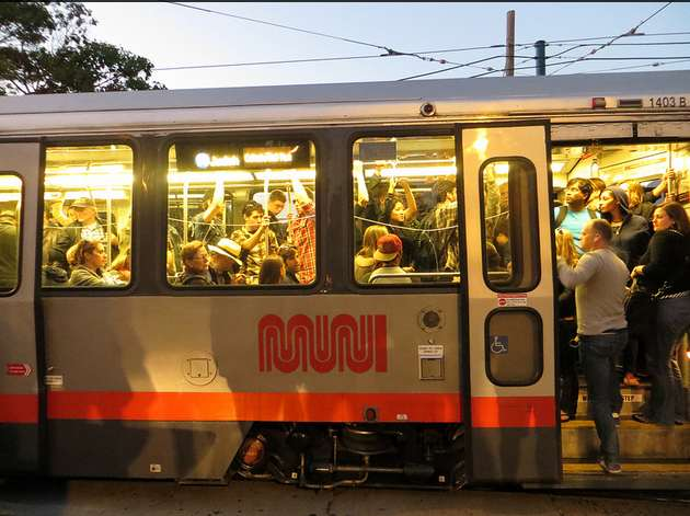 Crowded Muni in San Francisco