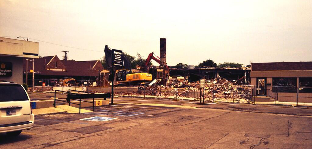Demolition at University square for new project Muncie, Indiana