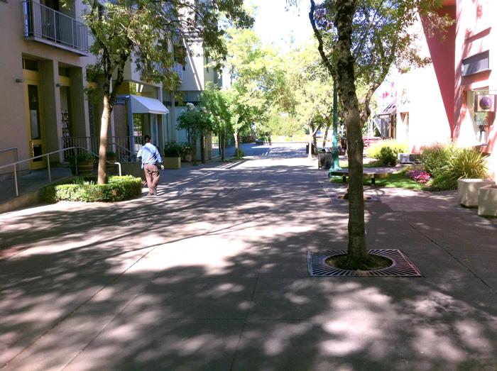 Pedestrian walkway leading from the Healdsburg Plaza to Foss Creek