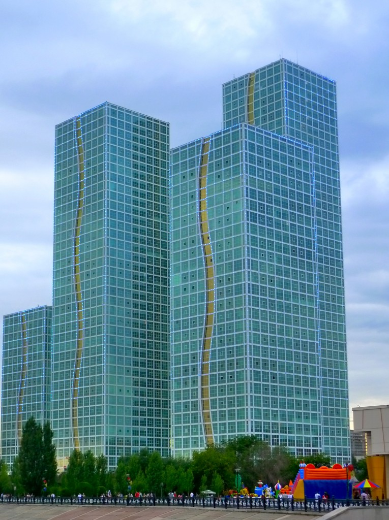 Glass-paneled building in Astana