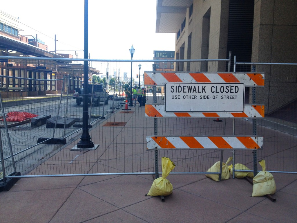 Closed Sidewalk Leading to Businesses Along University Avenue in Minneapolis