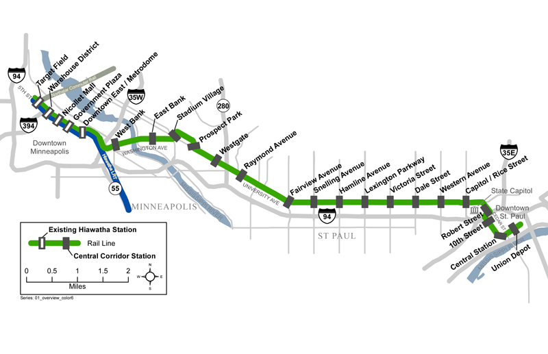 Map of Green Line Connection Between St Paul and Minneapolis
