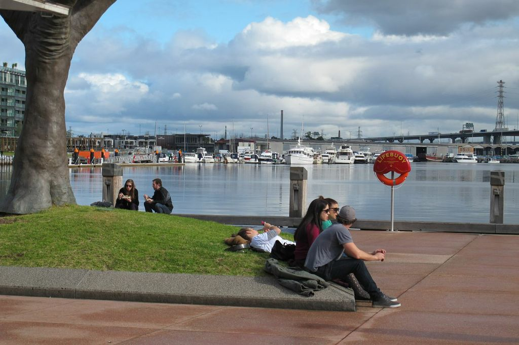 Docklands Esplanade boardwalk is the only green space available to local residents.