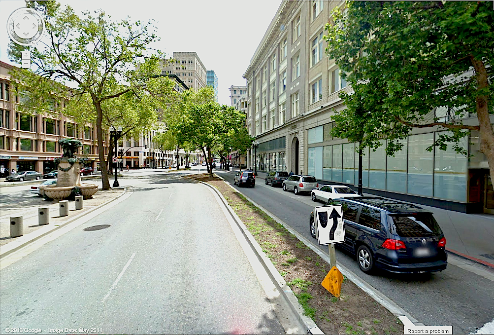 Google Maps image of Telegraph and Broadway in Downtown Oakland Before Urban Renovations