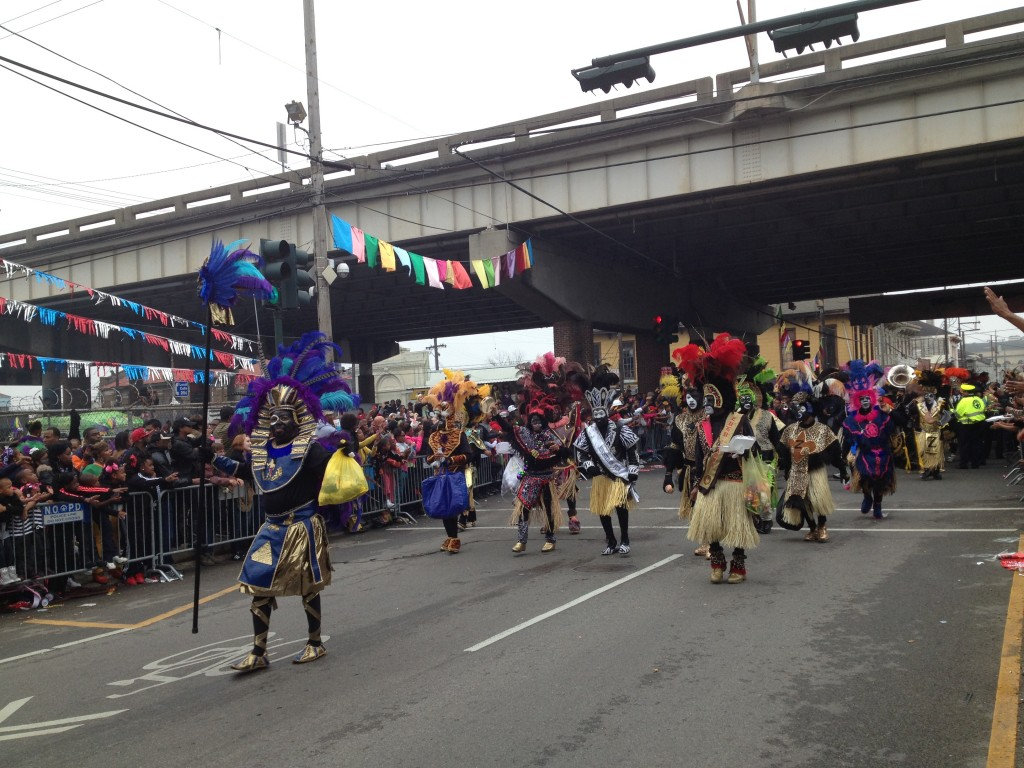 Zulu Parade under I-10 Mardi Gras Day 2013
