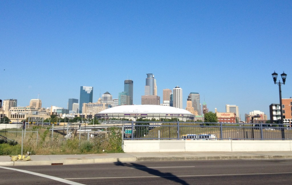 View of the current Metrodome from Washington Avenue in Minneapolis, MN