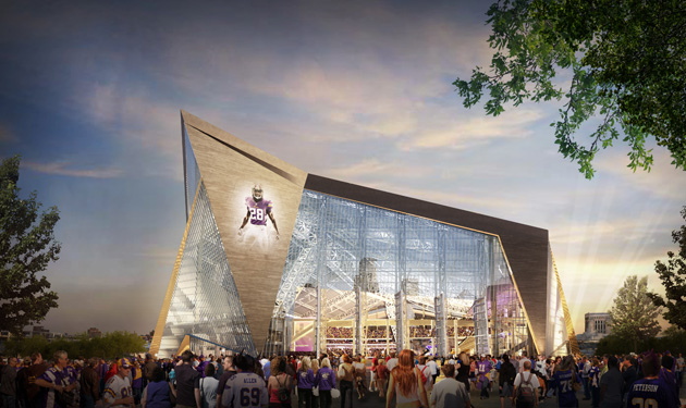 Rendering of new Minnesota Vikings Stadium in Minneapolis, MN
