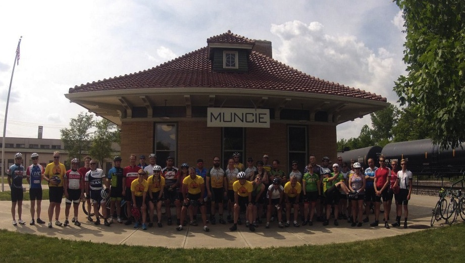 Tour of Muncie in front of Wysor Street Depot